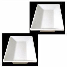 Two Restaurant Quality, Oriental, Chinese, Vitrified Porcelain Food Presentation, Serving Plates. 10x5ins